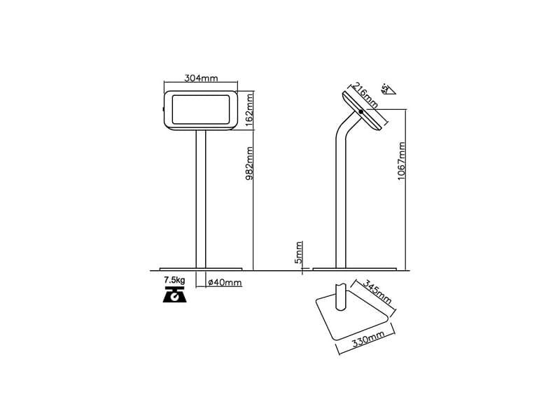 Напольная подставка для планшета с антивандальной функцией TE280-FSB