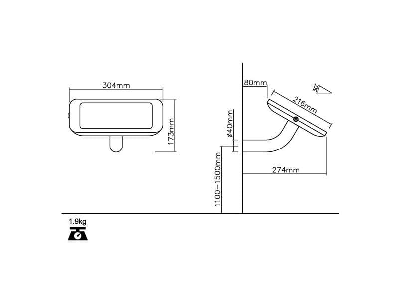 Настенная стойка для планшета с антивандальной функцией TE250-30, наклон 30°