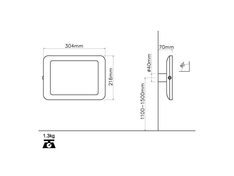 Настенная стойка для планшета с антивандальной функцией TE250-90, наклон 90°